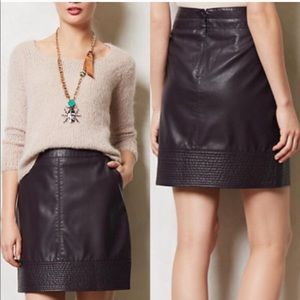 Anthro- Vanessa Virginia Faux Leather Skirt
